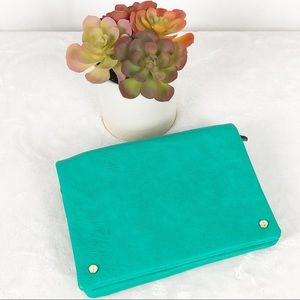 Clutch Teal Green Purse with Removable Straps